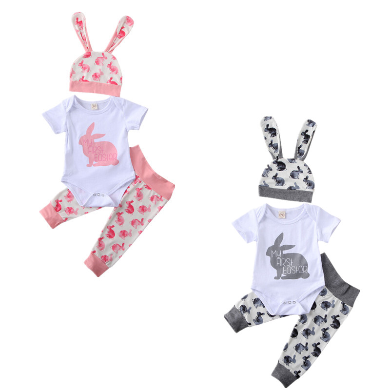 Newborn Baby Boys Girls Easter Prints Outfits Clothes Set Bunny Print Short Sleeve Romper Tops Pants Hat