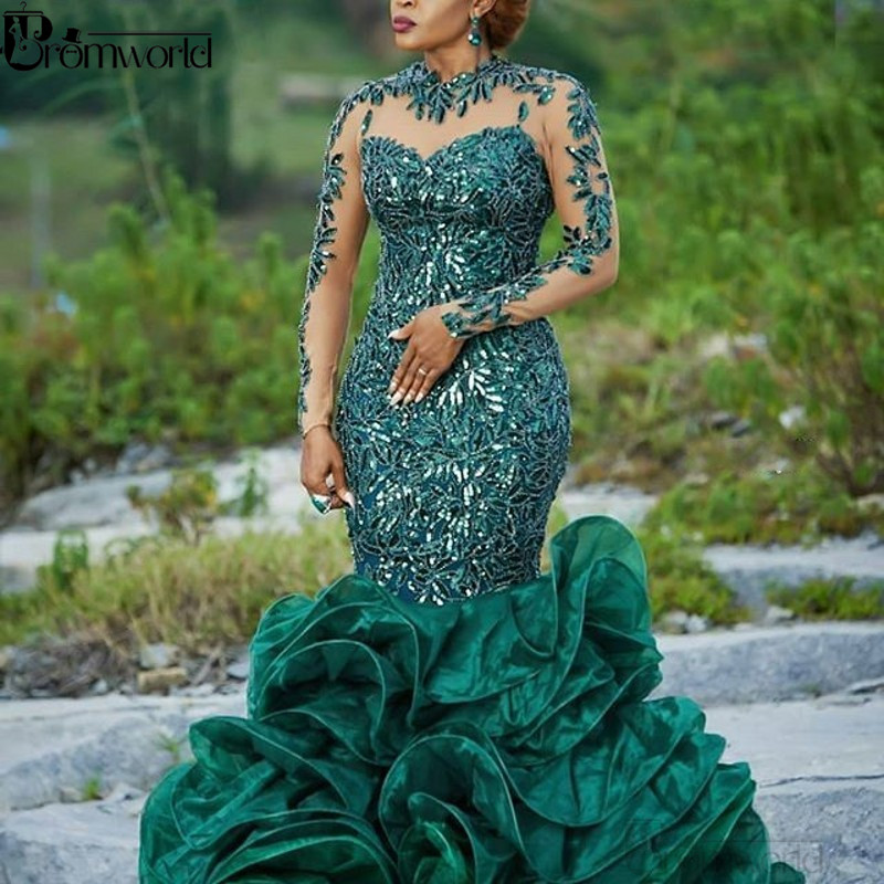2020 Abendkleider Hunter Green Evening Gowns Organza Applique Lace Long Sleeves Formal Dress Sequins Robe De Soiree Abiye Prom