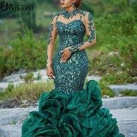 2020 Abendkleider Hunter Green Evening Gowns Organza Applique Lace Long Sleeves Formal Dress Sequins robe de soiree abiye Prom