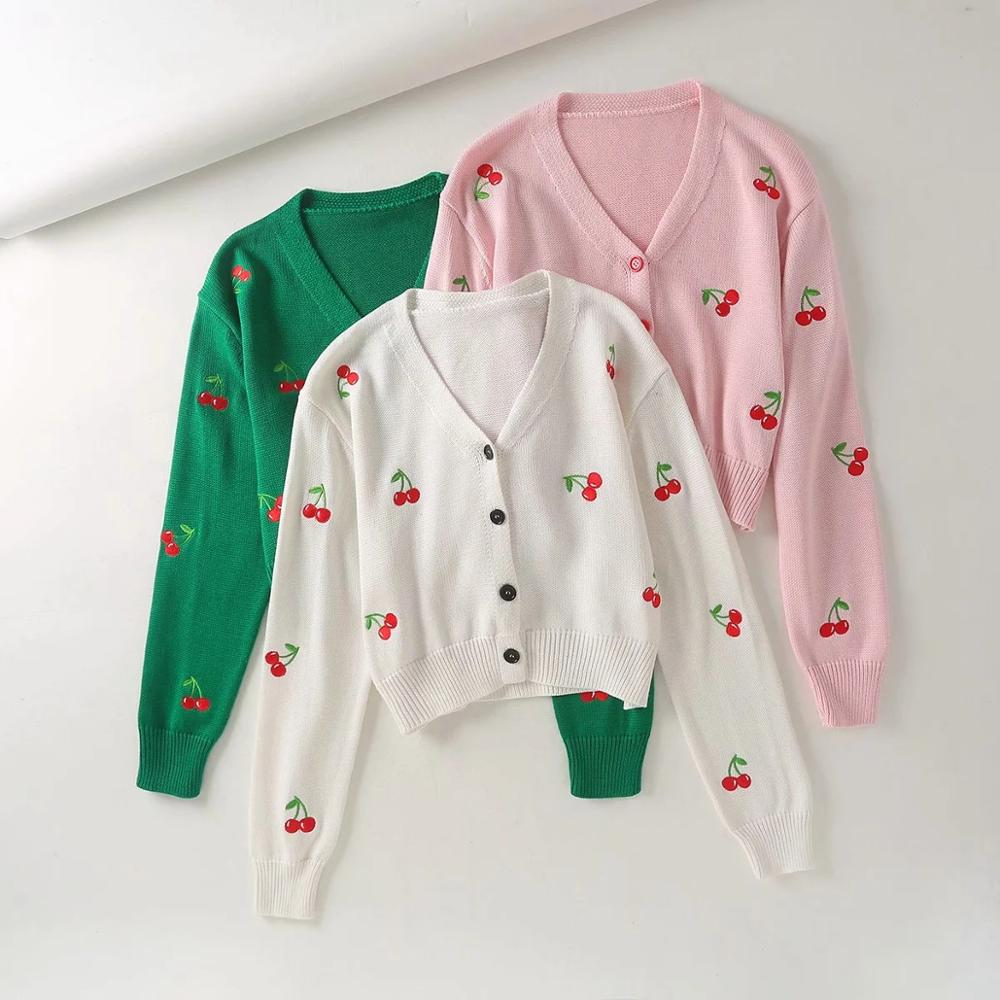 European and American women's 2020 autumn new ins sweet retro V-neck single breasted cherry embroidery short knitted cardigan image