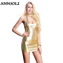 ANNJOLI PU Faux Leather Erotische Club Mini Jurk Vrouwen Wetlook Hot Sex Latex Backless Clubwear PVC Open Borst Lingerie Glanzende jurk(China)