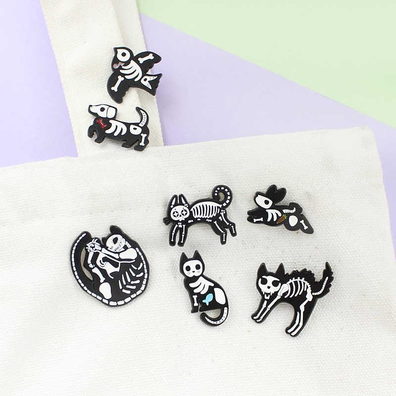 視点動物スケルトン黒、白ゴシックエナメルブローチ猫鳥ウサギスケルトン創造的人格バッジハロウィンギフト