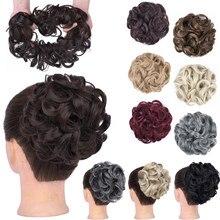 GIRLSHOW kıvırcık Chignon dağınık saç Bun elastik saç aksesuarları Wrap at kuyruğu saç kuyruk kabarık kabarık saç parçaları Heedwear kadınlar için