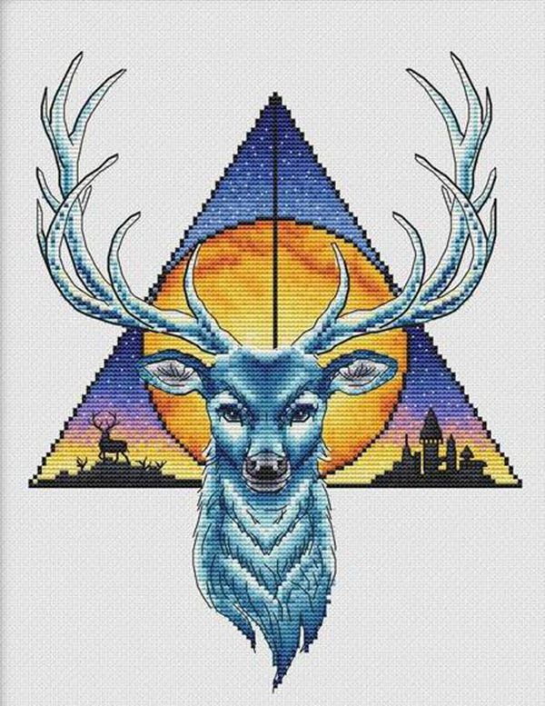 Guardian of the Forest-Deer 30-36 Cross Stitch Kit Package Greeting Needlework Counted Kits  Embroidery cross stitch set