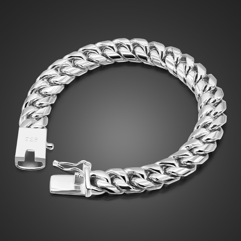 Fashion 925 silver and solid silver man bracelet man wide 10MM 20cm bracelet personality Sterling silver men's jewelry gift