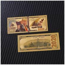 Billetes de 2020 dólares de Estados Unidos en papel chapado en oro de 24K para regalos, 1 unids/lote, nuevo, 2020