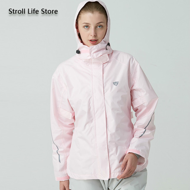Pink Waterproof Raincoat Women Rain Pants Jacket Clothing Hiking 190T Nylon Fabric Hooded Womens Raincoat Impermeable Gift Ideas