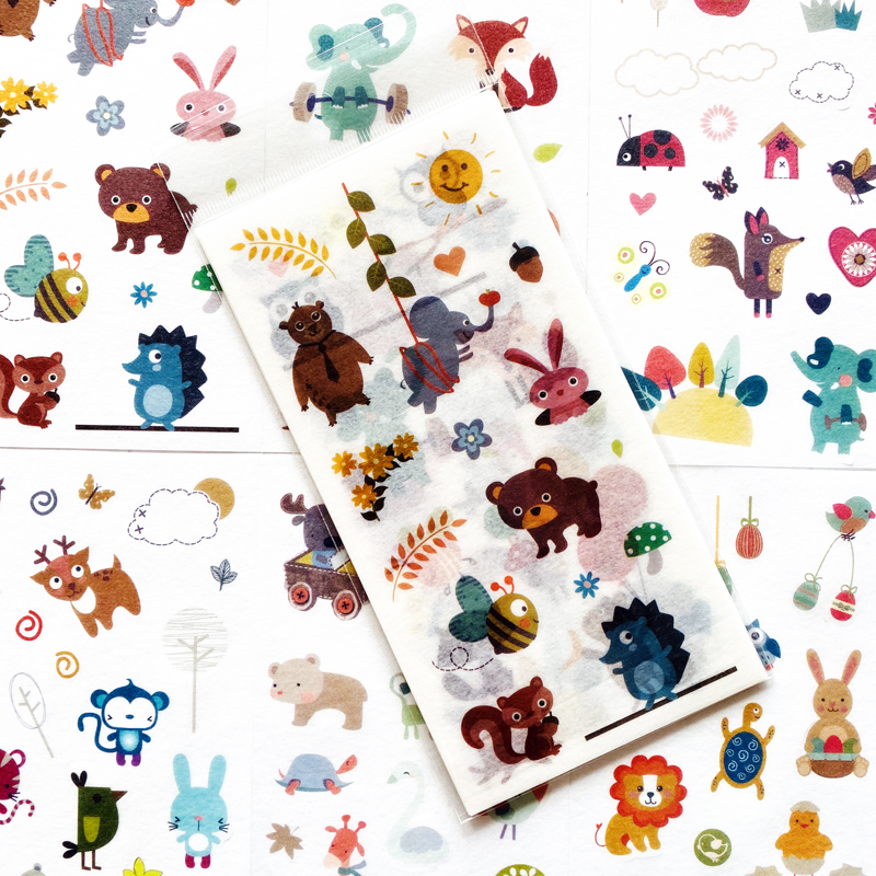 1Pack 6 Sheets Cute Zoo Animals World Adhesive Stickers Decorative Album Diary Stick Label Paper Han