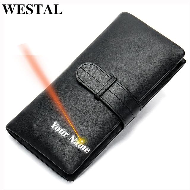 WESTAL portfel męska oryginalna skórzana portmonetka dla mężczyzn sprzęgła portfele męskie długa skórzana zipper portfel mężczyźni biznes portfel 6018
