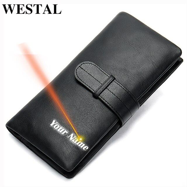WESTAL wallet mens genuine leather purse for men clutch male wallets long Leather zipper wallet men business money bag 6018