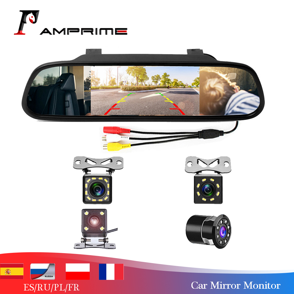 AMPrime Dell'automobile da 4.3 pollici HD Monitor A Specchio Retrovisore CCD Video Auto di Assistenza Al Parcheggio LED Night Vision Telecamera di Retromarcia Videocamera vista posteriore title=