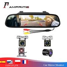 AMPrime 4,3 pulgadas coche HD Monitor de espejo retrovisor CCD Video asistencia de estacionamiento para coche LED de visión nocturna cámara de visión trasera de marcha atrás