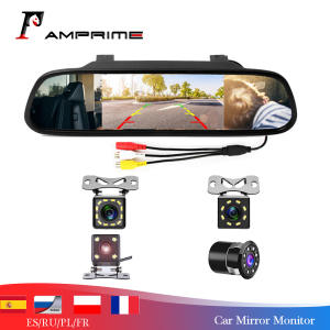 Amprime Rearview-Mirror-Monitor Parking-Assistance Car Video Auto Reversing Night-Vision