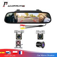 AMPrime 4.3 pouces voiture HD rétroviseur moniteur CCD vidéo aide au stationnement automatique LED Vision nocturne caméra de recul