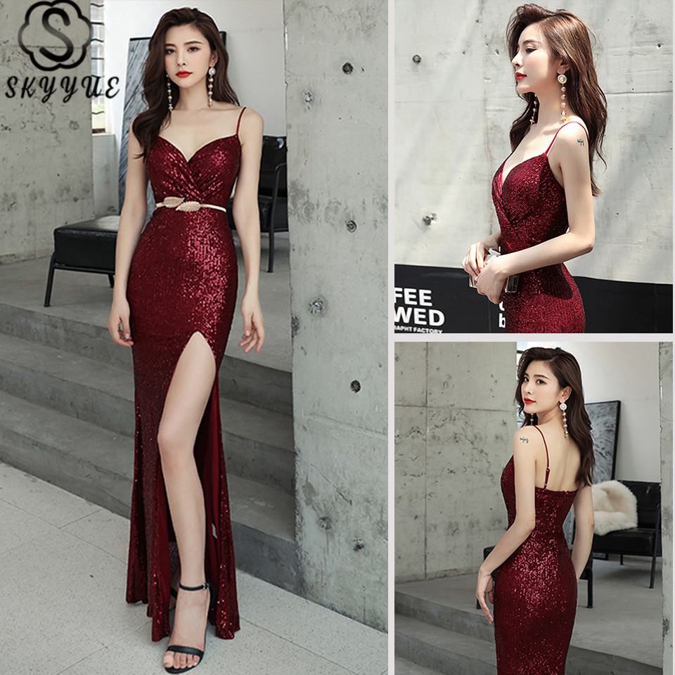 Skyyue Formal Dress Sleeveless V-Neck Mermaid Split Eveing Gowns Sequined Spaghetti Strap Plus Size Robe De Soiree K082