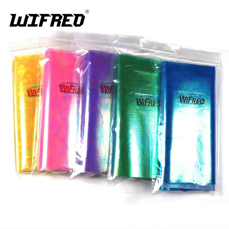 Wifreo 5 taschen X 15cmX110cm Gestärkt Metalic Holographische Flash Film Durable Sabiki Fisch Haut Film Assit Haken Flügel Material