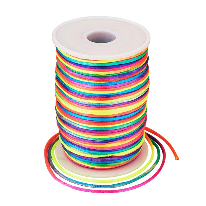 2mm Rainbow Colorful Polyester Cord Rattail Cords Thread Bracelet Jewelry Making DIY Material Supplies about 80yards/roll