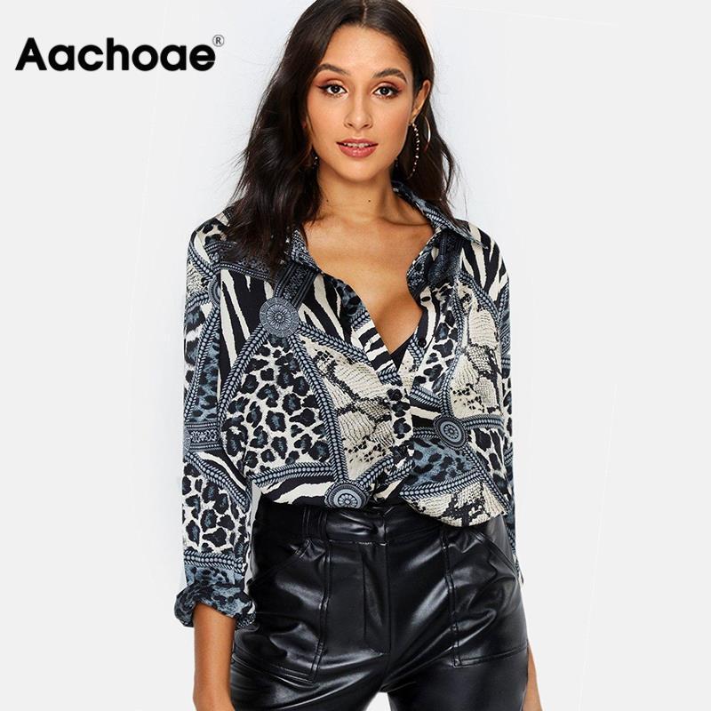 Women Blouses Sexy Leopard Blouse Shirt Long Sleeve Office Shirt 2020 Fashion Autumn Casual Vintage Tops Chemisier Femme