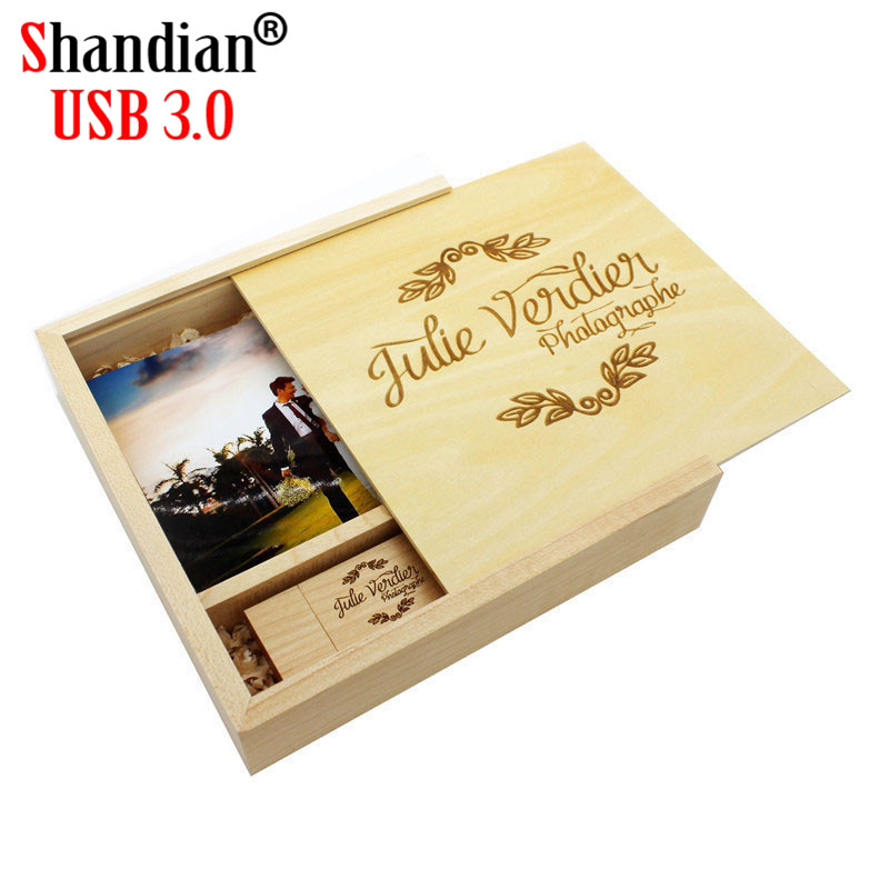 SHANDIAN USB 3.0 Wood Guitar Usb+Box USB Flash Drive Memory Card Pendrive 4GB 32GB 64GB Wedding Gift 1PCS Free Logo170*170*35MM