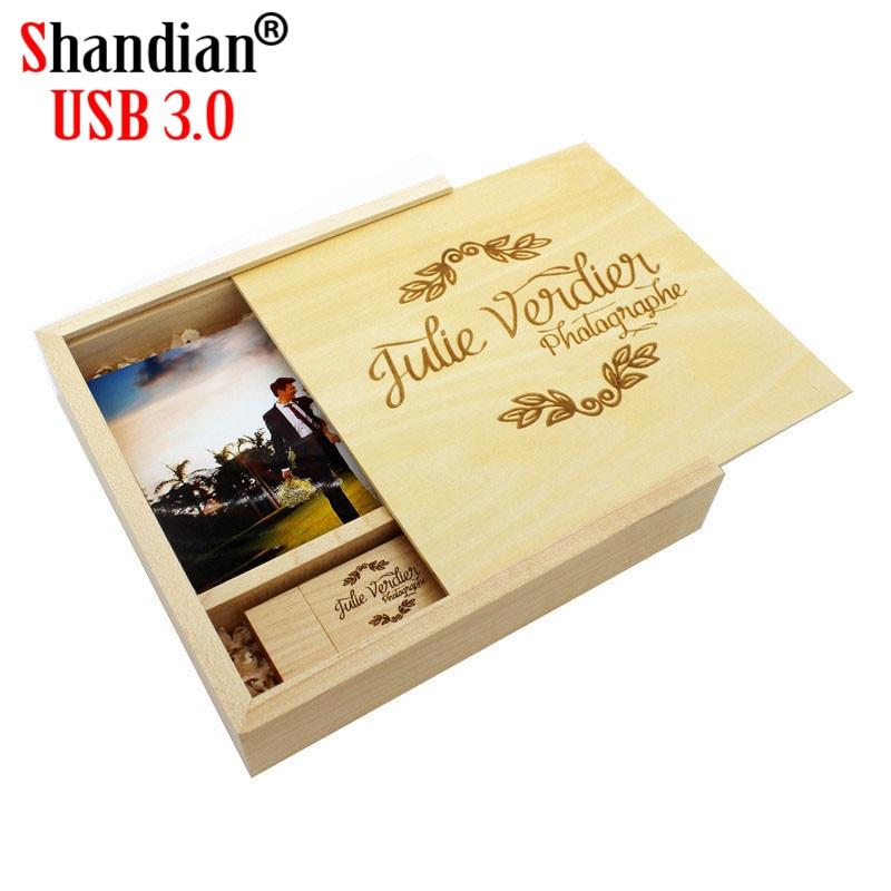 SHANDIAN USB 3.0 Wood Guitar Usb+Box USB Flash Drive Memory Card Pendrive 4GB 32GB 64GB Wedding Gift 1PCS Free Logo170*170*35MM