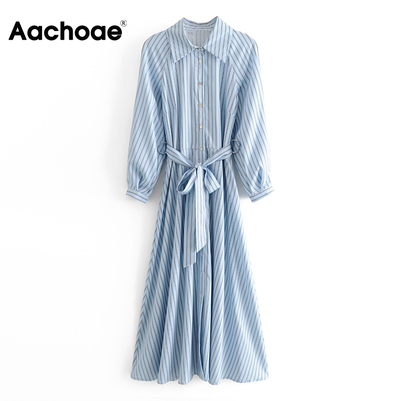 Aachoae 2020 Women Striped Dress Long Sleeve Ladies Elegant Long Shirt Dresses Casual Turn Down Collar Office Dress Robe Femme