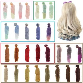 1 Uds 15*100cm gradiente de Color sólido romano rollo pelucas de pelo corto rizado Peluca de pelo rizado para Blythe BJD SD muñeca DIY 1/3 1/4 accesorios para muñecas de juguete
