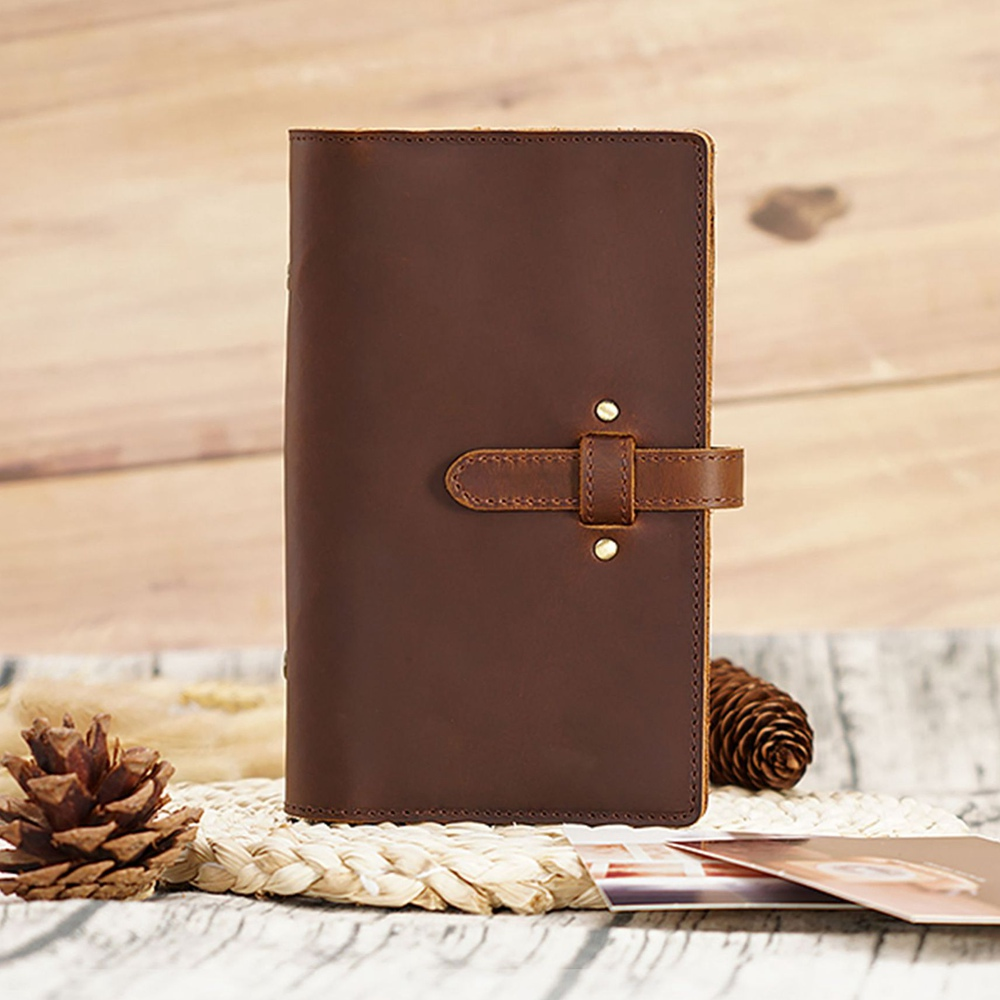 Handmade Genuine Leather A6 Multifunction Spiral Notebook Cowhide Diary Loose Leaf Diy Ring Binder Replaceable Inserts 6 Holes