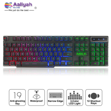 цены Gaming Keyboards Wired Mechanical Feeling Keyboard Glowing 104 Keycaps USB Cable Backlight Waterproof Computer Game Keyboards