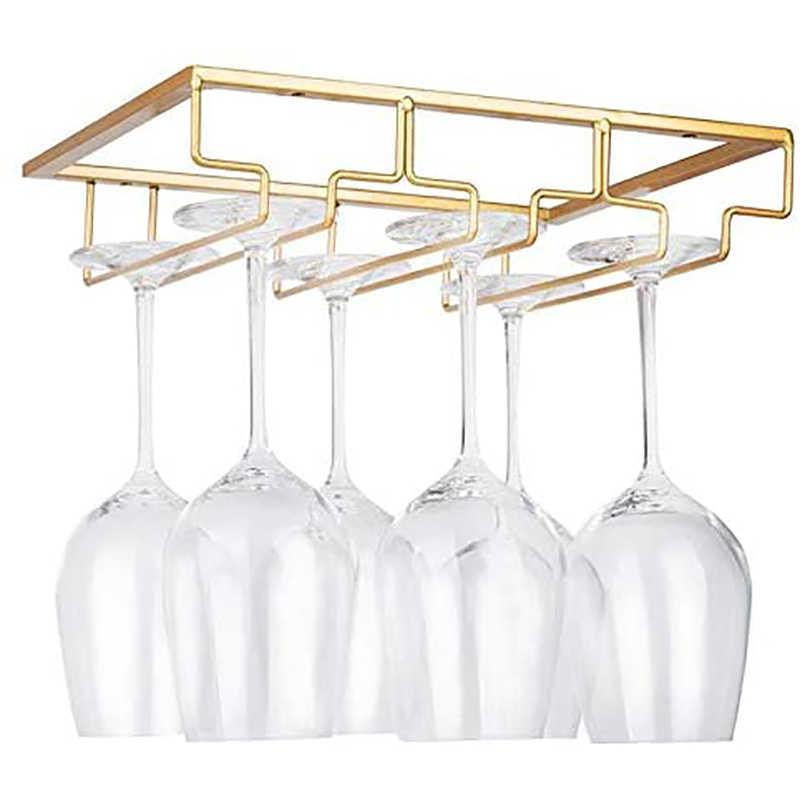 Estante para copas de vino debajo del gabinete Cabilock soporte para almacenamiento de copas de vino dos capas organizador de metal para bar cocina soporte para copas de vino plateado
