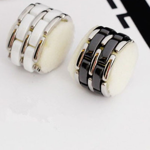 Image 1 - Luxury jewelry 2020 new ring men and women strap ceramic double row black and white couple stainless steel punk gift wholesale