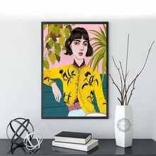 Fashion Girl Monstera Cactus Wall Art Print Canvas Painting Nordic Vintage Posters And Prints Pictures For Living Room