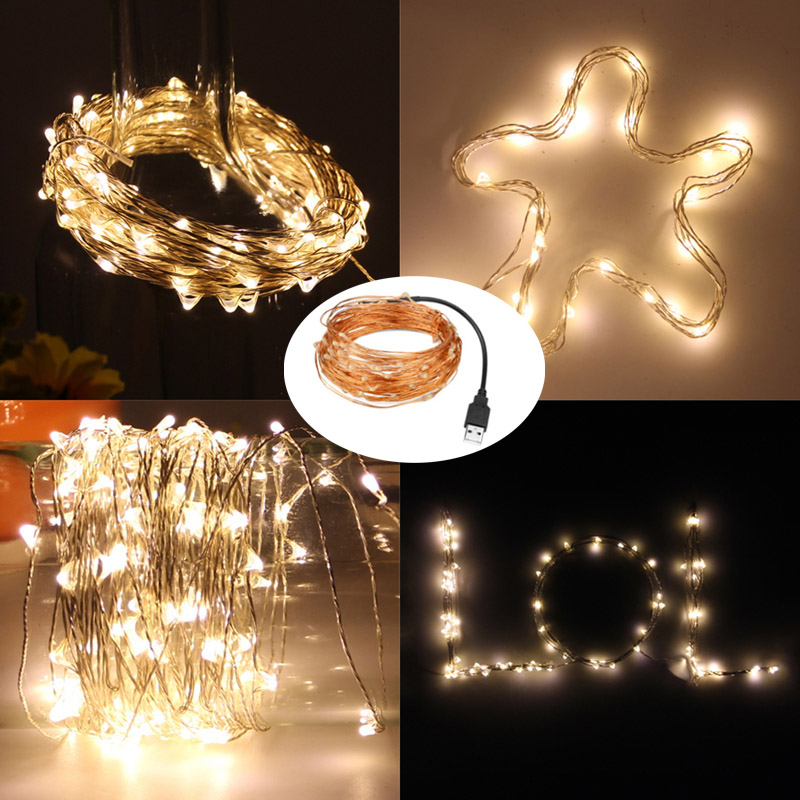 New Year 2M 5M 10M Copper Wire Fairy Light Garland USB LED String Lights Home Christmas Wedding Party Xmas Decoration