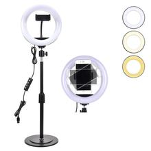 10 Inch Mini LED Video Ring Light Lamp Dimmable 3 Lighting USB Powered With Light Stand Mini Desktop Tripod For Broadcast Selfie mini april beacon 305 usb powered with ble ibeacon technology