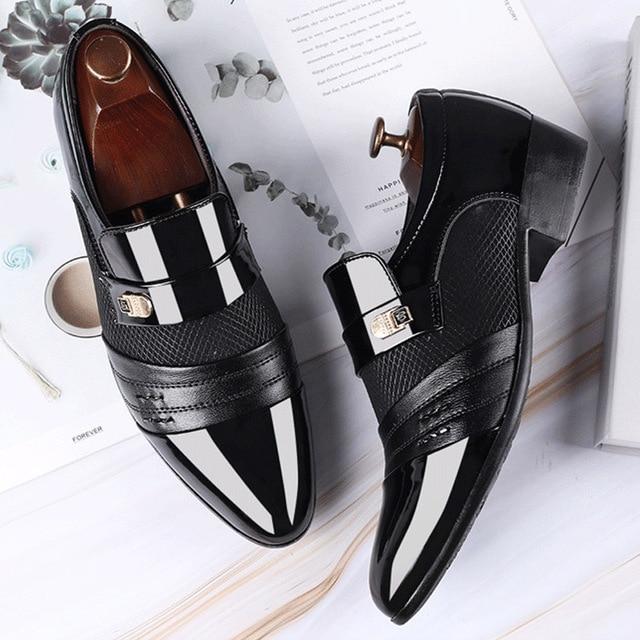 Mazefeng Fashion Slip On Men Dress Shoes Men Oxfords Fashion Business Dress Men Shoes 2020 New Classic Leather Men'S Suits Shoes 2