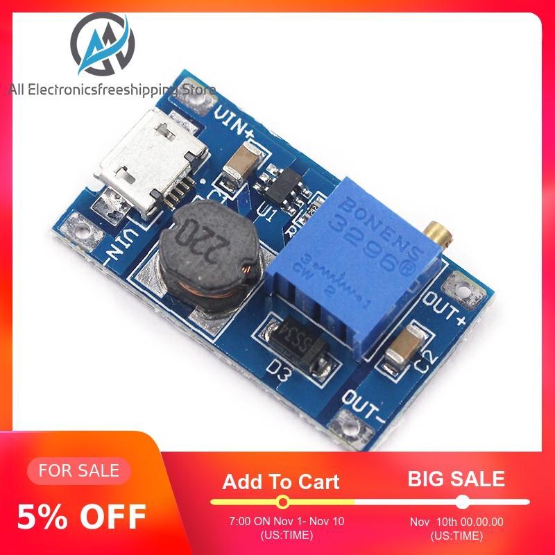MT3608 DC-DC Adjustable Boost Module 2A Boost Plate Step Up Module With MICRO USB 2V-24V To 5V 9V 12V 28V