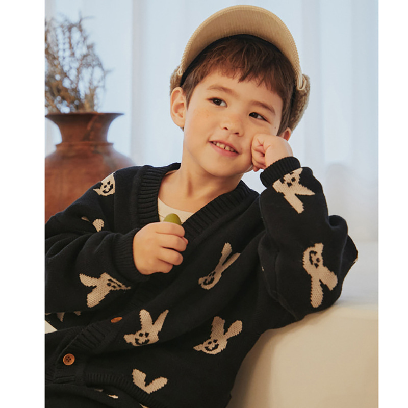 2021 New Autumn Winter Kids Sweaters for Boys Girls Cute Print Knit Cardigan Baby Children Fashion Cotton Outwear Brand Clothes 5