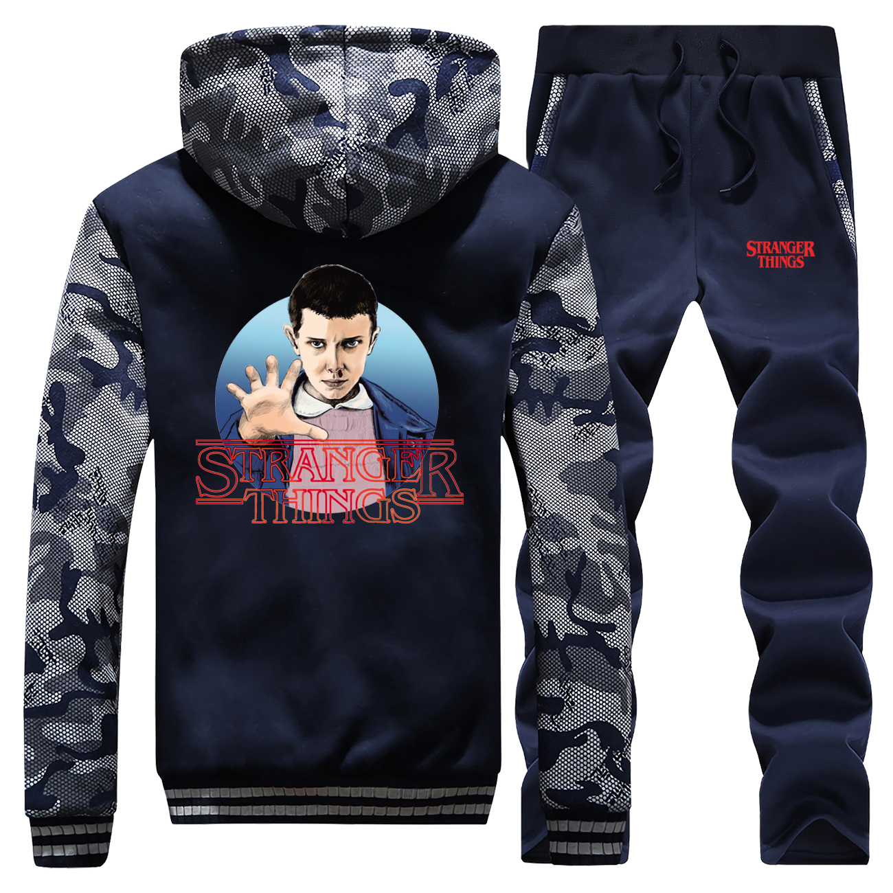 Stranger Things Hot Sale 2019 Winter Hip Hop Camouflage Hooded Mens Coat Thick Suit Sportswear Warm Jackets+2Piece Set Pants