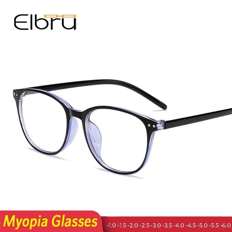 Elbru Blue Film Finished Myopia Glasses Frame Men Women Diopter -1.0 1.5 2.0 2.5 3.0 3.5 4.0 4.5 5.0 5.5 6.0 Retro Round Glasses