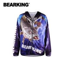 BEARKING Fishing Clothing Hooded Jacket Quick Drying Coat Fishing Shirt For Hiking Cycling Fishing Clothes Pesca Outdoor Sports