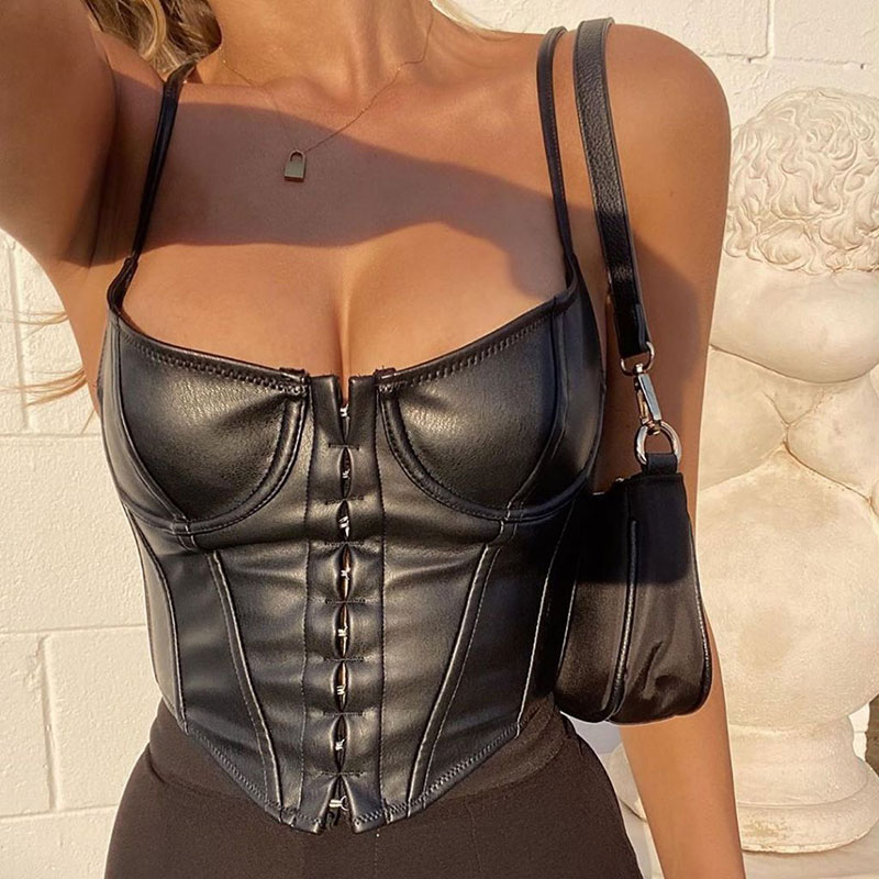 Women's Corset Sexy Black PU Leather Bustier Crop Top Fashion Lady Sleeveless Strap Camis Clubwear Summer Low-cut Slim Camis 1