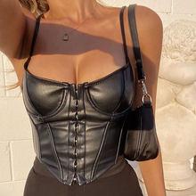 Corset femme Sexy cuir synthétique polyuréthane noir Bustier haut court mode dame sans manches sangle Camis Clubwear été coupe basse mince Camis