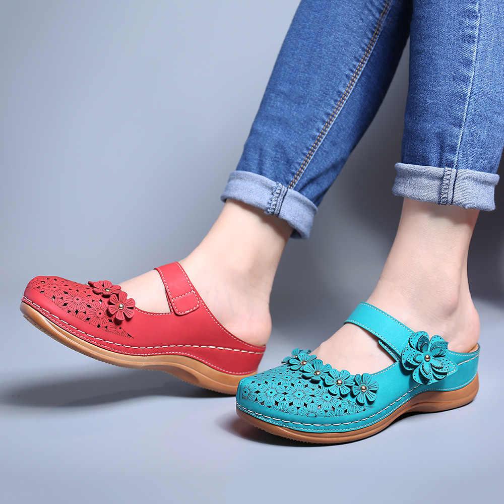 Sandalia de mujer 2020 verano hecho a mano zapatos de mujer Sandalias florales de cuero pisos de Mujer Zapatos de estilo Retro Mujer