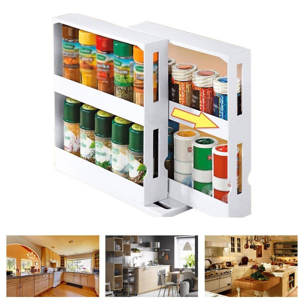 Space Saving PP Rotating Shelf Home Spice Organizer Slide Desktop Kitchen Cabinet Cupboard Multifunctional Large Storage Rack