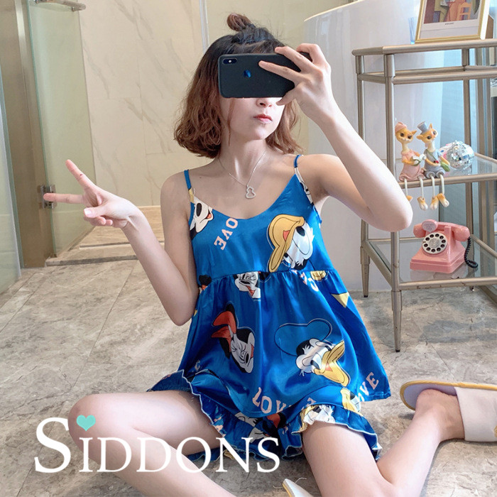 Siddons Sling Sleepwear Women Sexy Summer Slik Pajamas Home Clothes Female High Quality Lady Pijamas Shorts Two Piece Pyjamas|Pajama Sets| - AliExpress