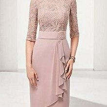 Оболочка/Колонка Bateau длиной до колена полиэстер мать невесты платье с кружевом