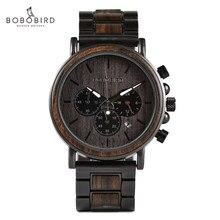 Bobo pássaro data automática relógios masculinos para homem relógio masculino 2020 luxo relógio de quartzo de madeira pulseira de metal relógios de pulso masculino