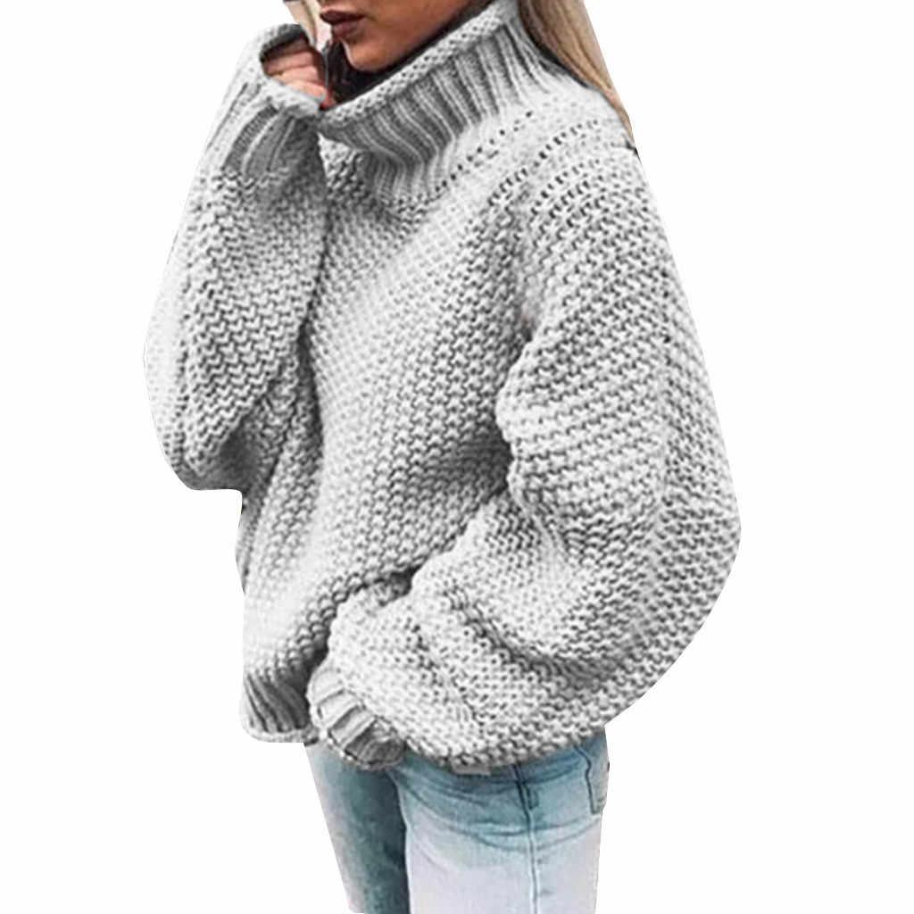 ฟรีนกกระจอกเทศเสื้อกันหนาวผู้หญิงสูงสบายถักสีทึบแขนยาว pullover แฟชั่นสบายทุกวันเสื้อกันหนาวป่า