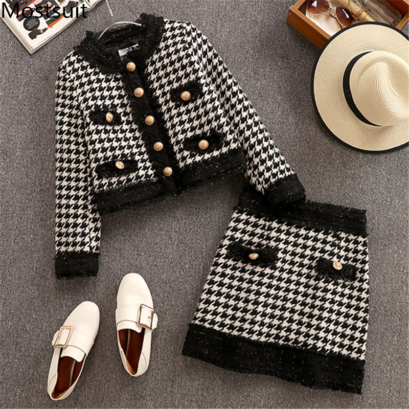 Tweed Houndstooth Vintage 2 Piece Skirt Sets Outfits Women Short Jacket Coat + Mini Skirt Suits Ladies Elegant Female 2 Pcs Sets