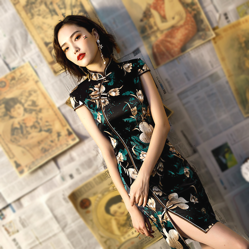 Moden Vintage Black Cheongsam Dress Woman Traditional Chinese Dresses Classic Oblique Slit Costume Summer Party Vestido
