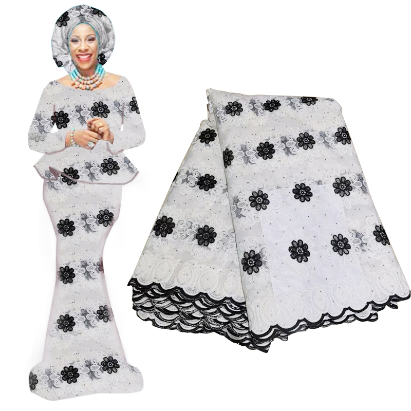 Latest Black Color African Lace Fabric With Beads High Quality French Tulle Lace Swiss Lace Fabric For Woman Dresses